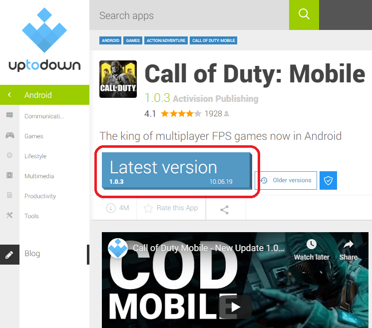 Download Call of Duty Mobile 1.0.3 Version APK+OBB