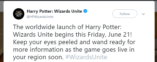 Harry Potter Wizards Unite is Releasing on 21st June 2019