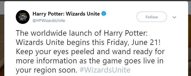 Harry Potter Wizards Unite is Releasing on 21st June 2019