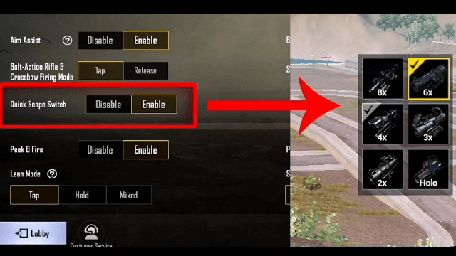 How to do Quick Scope Switch in PUBG Mobile – Mobile Mode Gaming