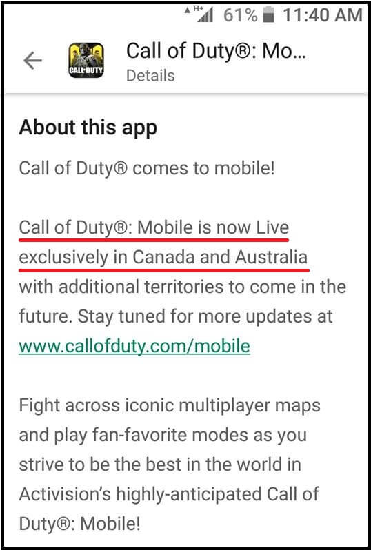 Call of Duty Mobile Beta To be released in Canada and Australia