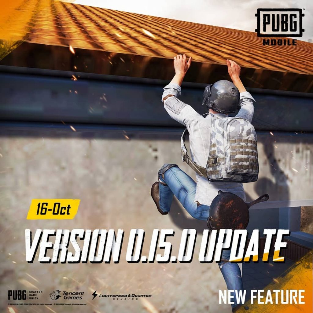 PUBG Mobile Update 0.15.0 To Release on 16th October 2019