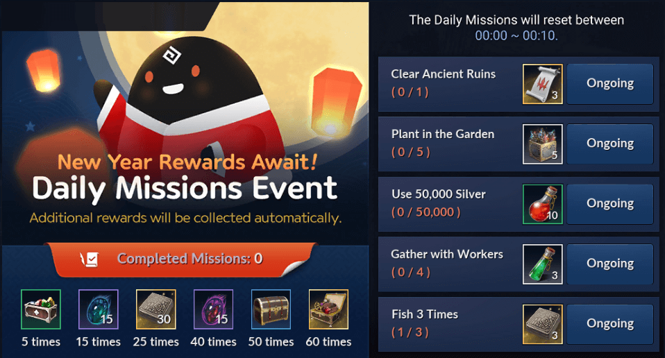 Black Desert Mobile New Year's Daily Missions Event