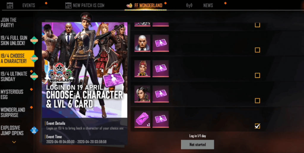 Free Fire Wonderland Party Event: Mysterious Eggs, Free Character, Skins, Level Up Card & Much More
