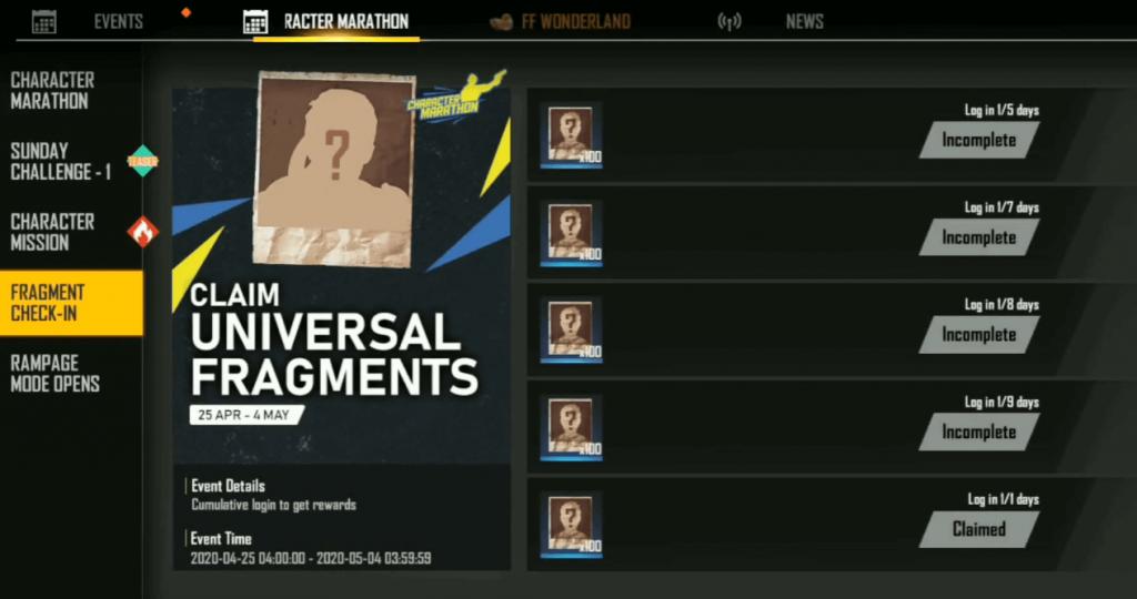 Free Fire Character Marathon Event: Claim Universal Fragments