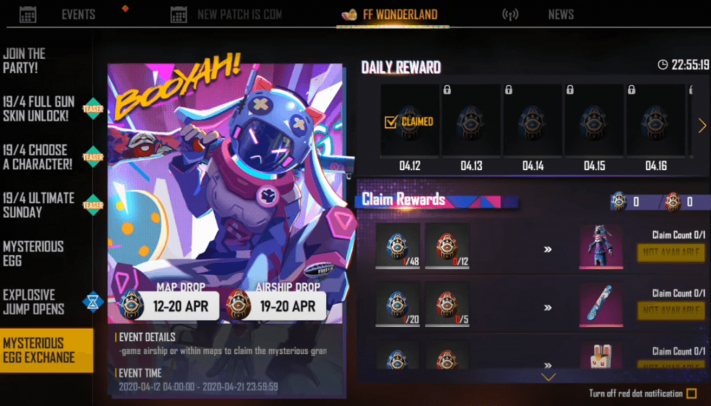 Free Fire: How To Collect Mysterious Eggs (Blue And Red Eggs) To Get Bunny Egg Hunter Bundle