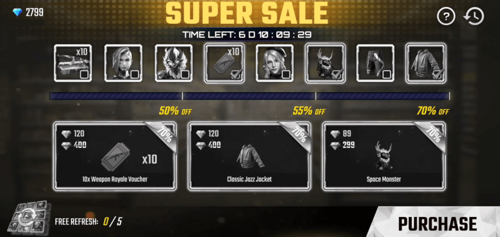 Free Fire Super Market / Sale 5.0: Get 70% Off On All Items