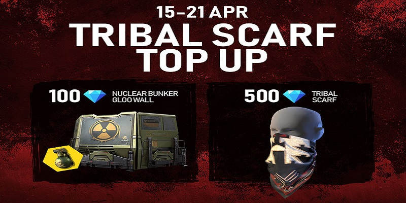 Free Fire Tribal Scarf Top Up Event Get Tribal Scarf And Nuclear Bunker Gloowall Skin Mobile Mode Gaming