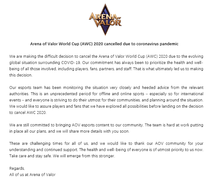 Arena of Valor World Cup 2020 Has Been Cancelled