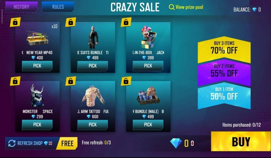 Free Fire Crazy Sale Event - Get 70% Discount On All Items