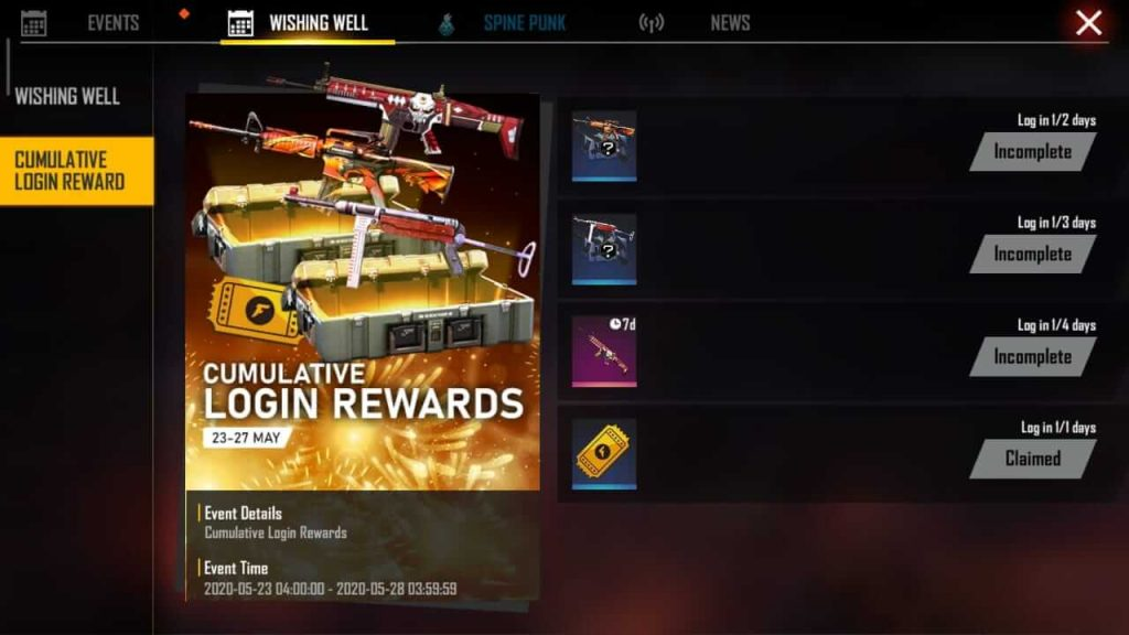 Free Fire Is Giving Away Cumulative Login Rewards In Wishing Well Event