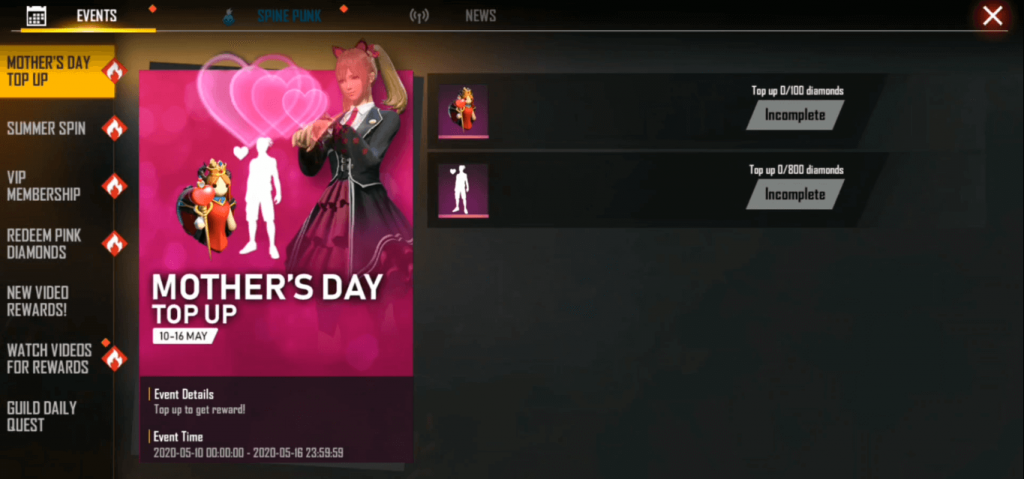 Free Fire Introduced Mother's Day Top Up Event
