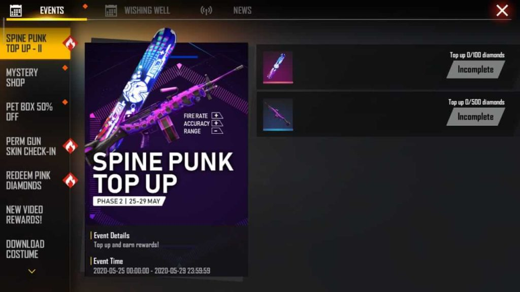 Free Fire Spine Punk Top-Up Event - Get Punkster Surfboard & M249 Spikey Spine Skin