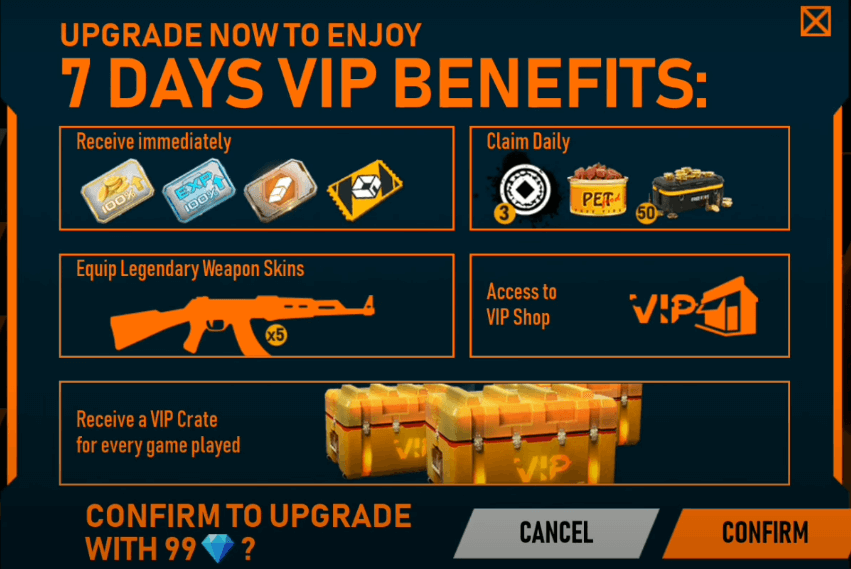Free Fire VIP Store New Event Full Details
