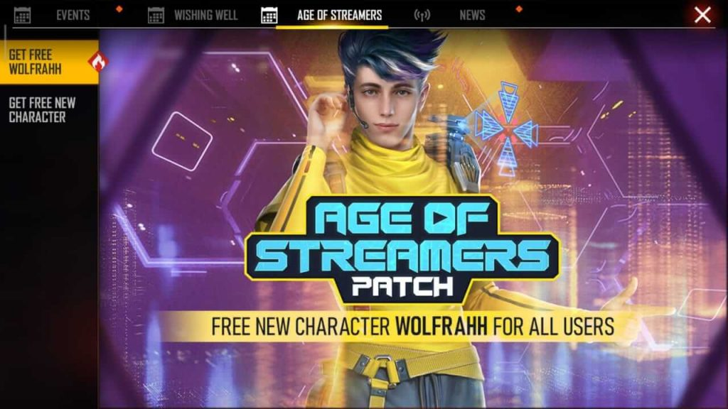 Free Fire Wolfrahh Character Is Free For All Users