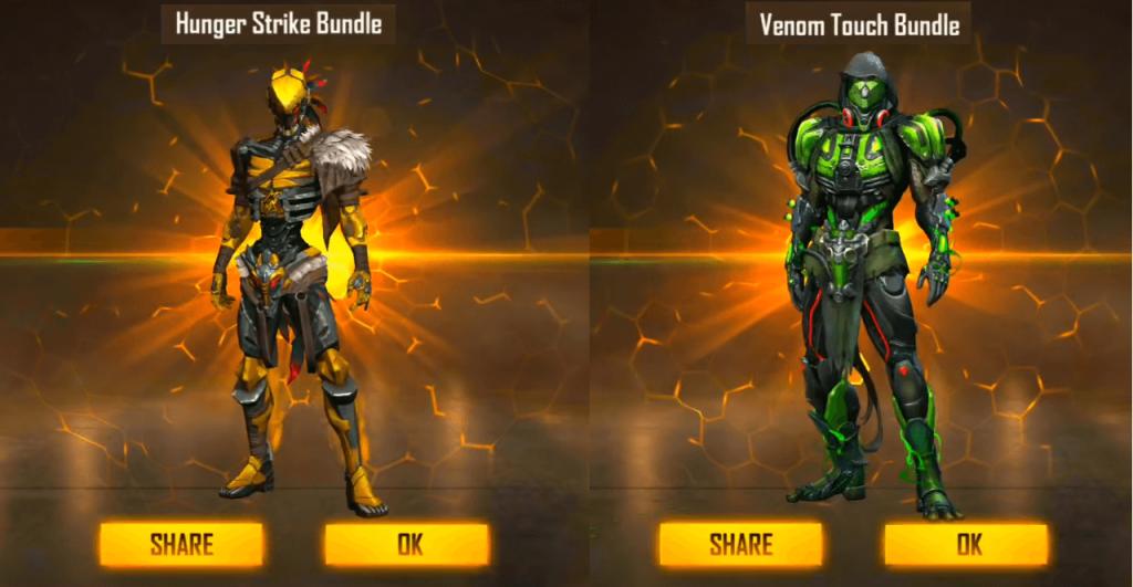 Free Fire Hunger Strike Bundle & Venom Touch Bundle