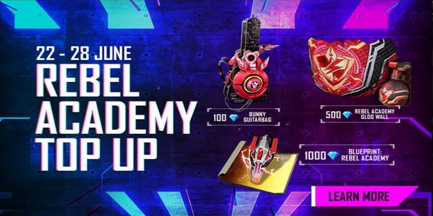 Free Fire Rebel Academy Top Up Event Details Mobile Mode Gaming