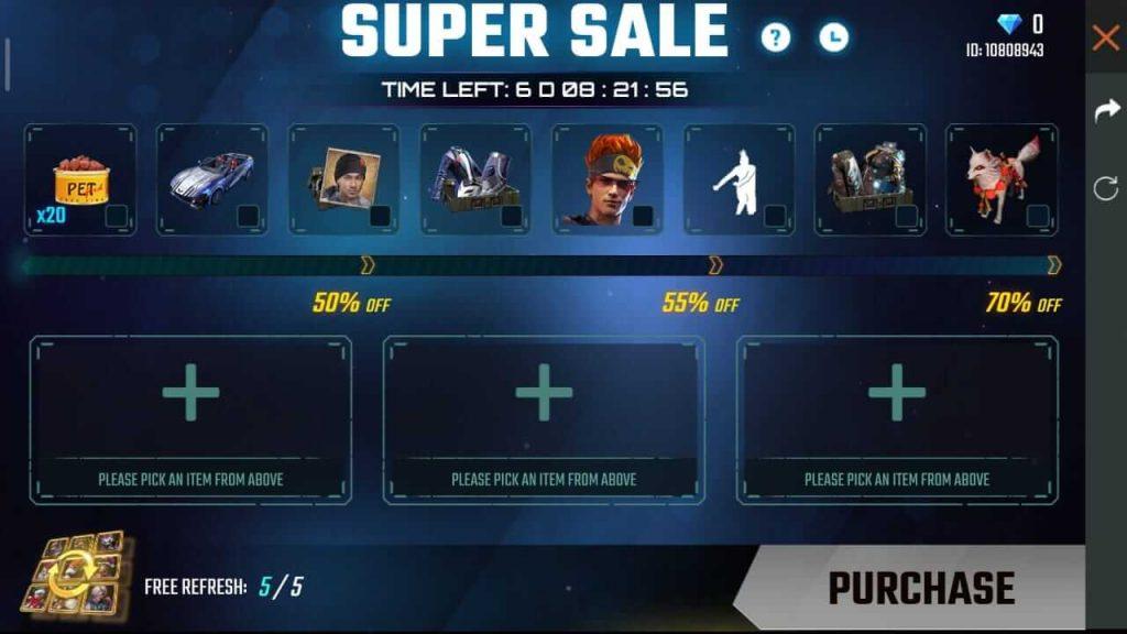 Free Fire Super Market / Super Sale 6.0 Complete Details