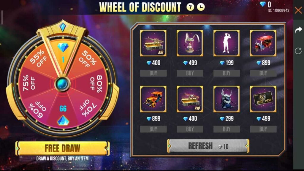 Free Fire Wheel Of Discount Event: Get Items At 1 Diamond