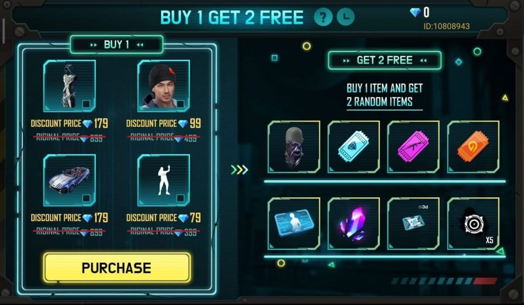 Free Fire 'Buy 1 Get 2 Free' Event Details