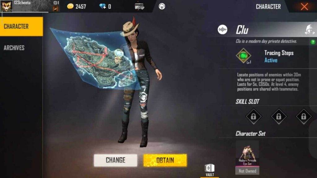 Clu Character Added in Free Fire But Currently Not Playable
