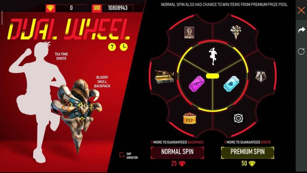 Free Fire Dual Wheel Event Details: How To Win Tea Time Emote & Bloody Skull Backpack