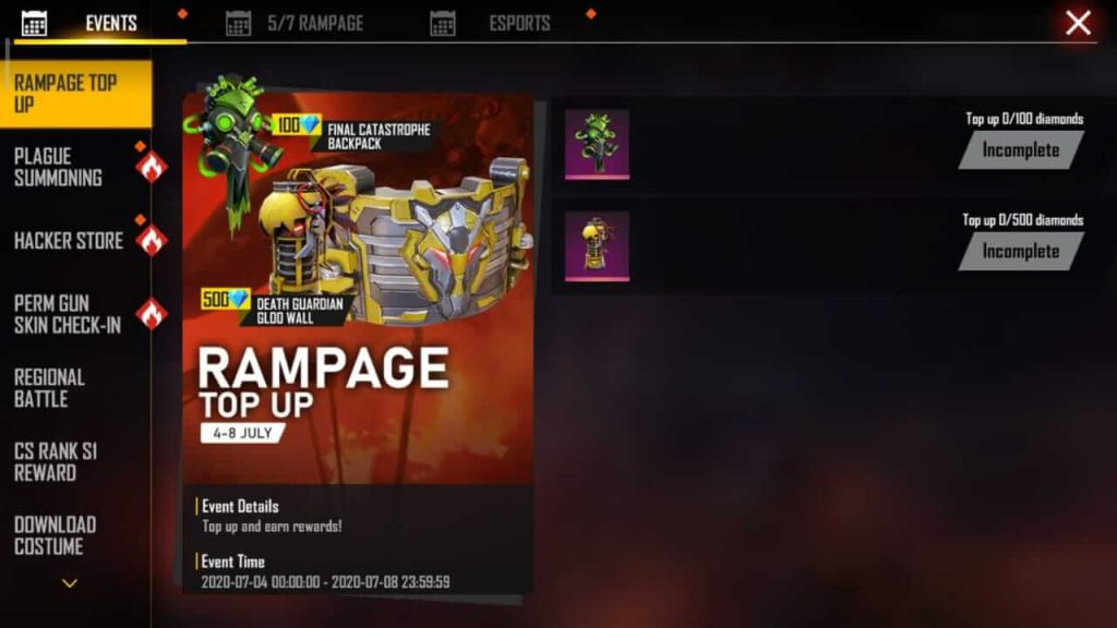 Free Fire Rampage Top Up Event Complete Details
