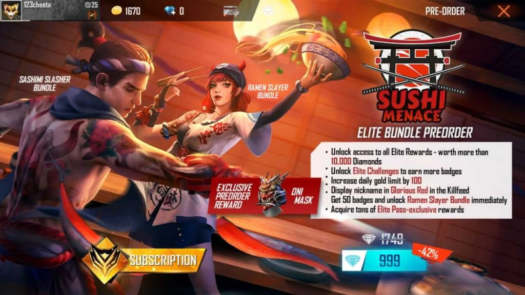 Free Fire Season 27 Elite Pass 'Sushi Menace' Is Up For Pre-Order