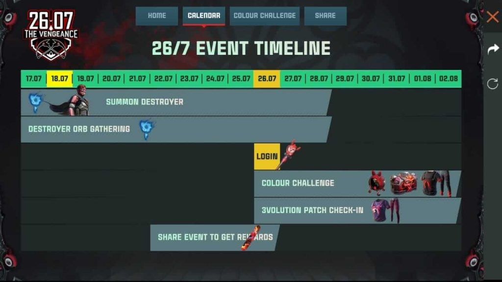Free Fire 26/7 The Vengeance Event Complete Details