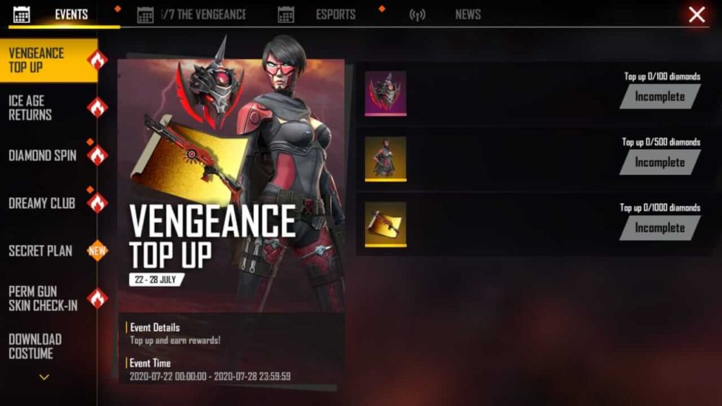 Free Fire Vengeance Top Up Event Details