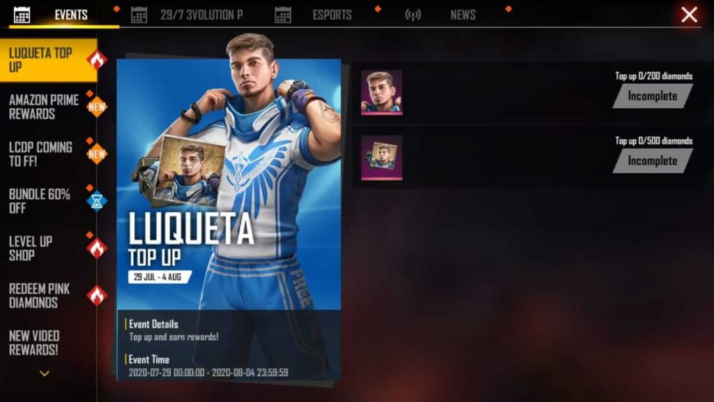 How To Get Free Luqueta Character In Free Fire - Luqueta Top Up Event