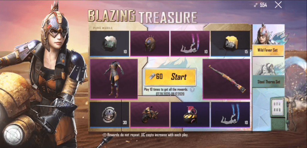PUBG Mobile: The Blazing Treasure Event Details
