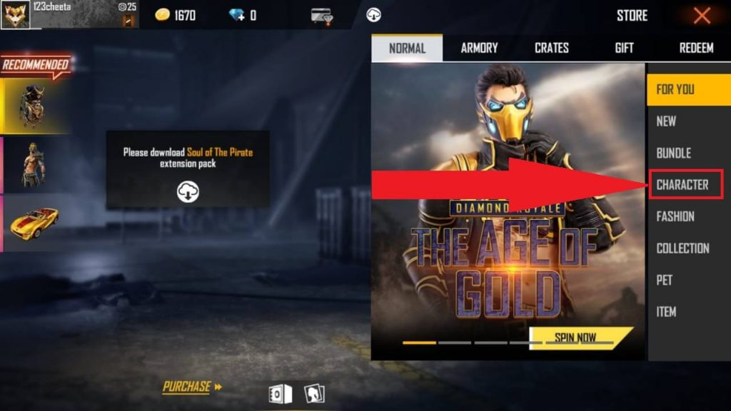 Free Fire: Buy Characters Using Gold Coins