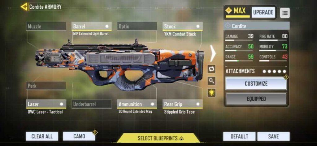 COD Mobile: Best Cordite Gunsmith Loadout