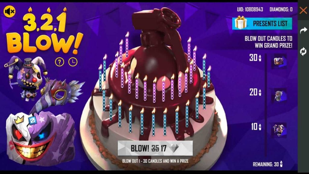 Free Fire 3rd Anniversary Cake Blow Event Details