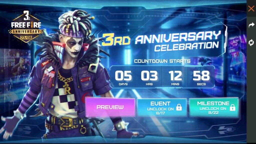 Free Fire 23/8 3rd Anniversary Event Details: Time Tunnel & Time Capsule Store