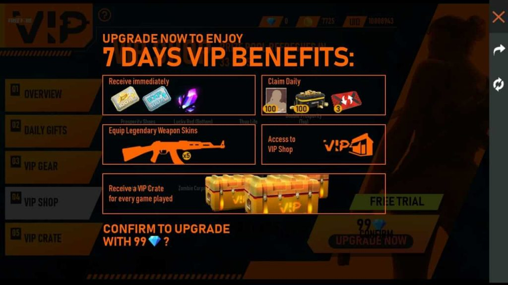 Free Fire VIP Event Complete Details: Get VIP Benefits For 7 Days