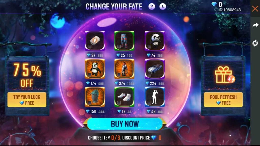 Free Fire Change Your Fate Event Details