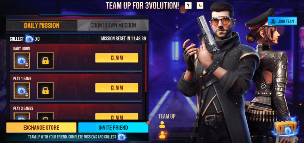 Free Fire Team Up For 3Volution Event Details: Invite Friends, Join Team & Collect Tokens