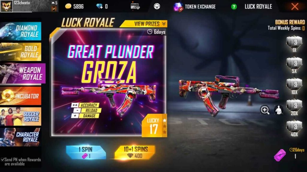 Free Fire Luck Royale Guide - Gold Royale, Weapon Royale, Diamond Royale, Incubator & Character Royale