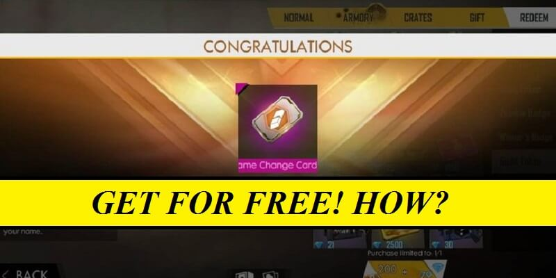 How To Get Free Name Change Card In Free Fire Change Your Name In Free Fire Without Diamonds Mobile Mode Gaming