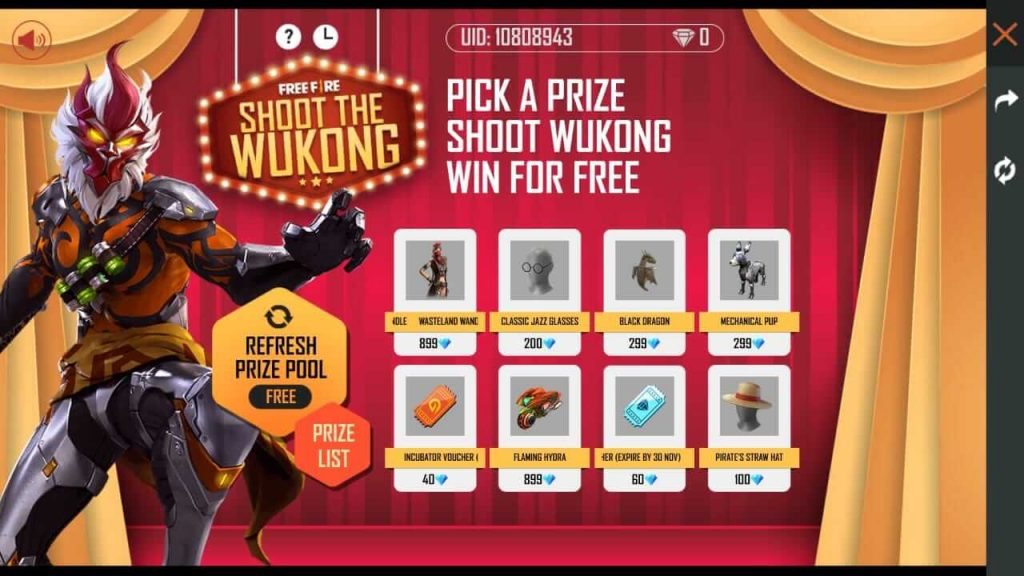 Free Fire Shoot The Wukong Event Complete Details