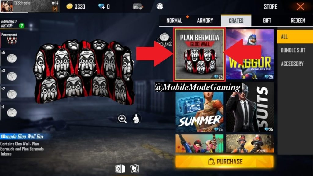 How To Get Plan Bermuda Gloo Wall (Money Heist) Skin In Free Fire