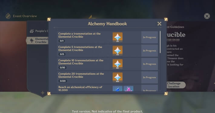 Genshin Impact: Elemental Crucible Co-Op Event Details